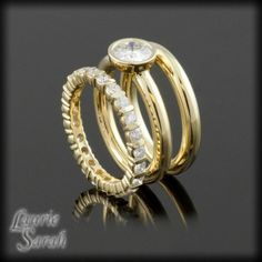 Moissanite Three RIng Wedding Set - Bezel Set Engagement Ring with plain band and Diamond Band - LS2174 - this set, only have it be brushed, as well.  YES!!