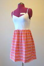 Pink, orange, yellow and white plaid summer tank dress handmade upcycled straps