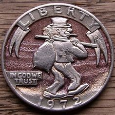 PAUL HOLBRECHT HOBO QUARTER - HIT THE ROAD - 1972 CCC WASHINGTON QUARTER Hobo Nickel, Coin Art, Old Coins, Coin Jewelry, Silver Dollar, Sculpture Art, Miniatures, Carving, Steampunk