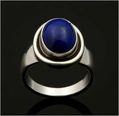 Georg Jensen Sterling Silver Ring # 46 B with Lapis Lazuli. Perfect! RARE!