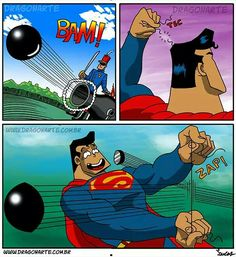 """Superman's strain of ""super-hair"" causes a cannonball to be sliced in half.....literally."""
