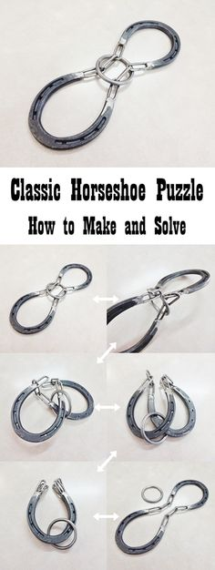 Two horseshoes are permanently joined with short sections of chain, and a metal ring encircles the chains and appears to be irremovable from the apparatus. But if you know the technique, you can remove it!