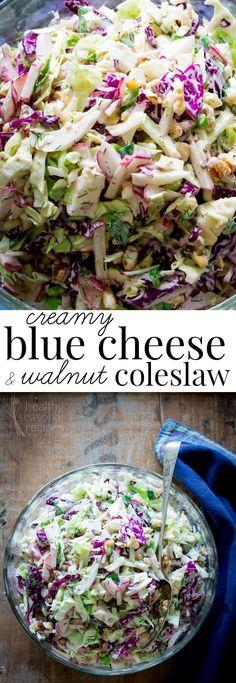 creamy blue cheese and walnut coleslaw - Healthy Seasonal Recipes
