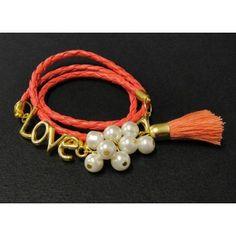 Pulsera de Moda con Perla y Piel Sintética | Love