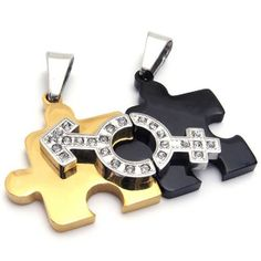 Jewelry 2pcs His & Hers Symbol Couples Gift Puzzle Stainless Steel Pendant Love Necklace for Lover Valentine, Gold Black Silver, with 18 inch and 22 inch Chain GET IT FROM HERE FOR A LOW PRICE $9.99 VISIT US AT >>> http://amzn.to/11RveMz
