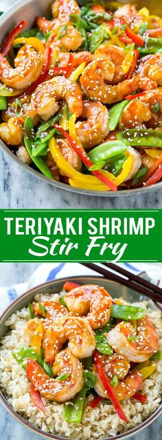 This recipe for teriyaki shrimp stir fry is shrimp and vegetables coated in a homemade teriyaki sauce and served over brown rice. An easy and healthy dinner option that's ready in less than 20 minutes(Seafood Recipes Gluten Free) Camarones Teriyaki, Teriyaki Shrimp, Teriyaki Sauce, Seafood Recipes, Cooking Recipes, Healthy Recipes, Shrimp Dinner Recipes, Shrimp Recipes Easy, Recipe For Shrimp And Rice