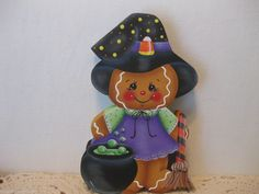 HP Gingerbread Witch with broom Shelf Sitter hand painted USA (ebay countreecorner US only)