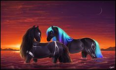 With Our Minds Wide Open by Lunameyza on DeviantArt Cute Fantasy Creatures, Mythical Creatures Art, Magical Creatures, Most Beautiful Horses, Beautiful Fantasy Art, Animals Beautiful, Cute Horses, Pretty Horses, Horse Love