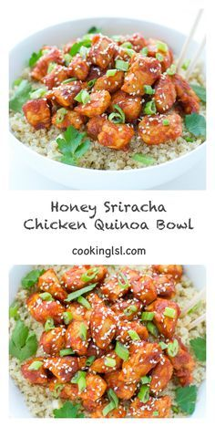 Honey Sriracha Chicken Quinoa Bowl #recipe (Cubed tofu or tempeh could be subbed for the chicken to make this vegetarian-friendly!)