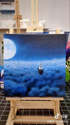 how to draw mermaid Easy Canvas Art, Small Canvas Art, Easy Canvas Painting, Art Painting Gallery, Canvas Painting Tutorials, Cool Art Drawings, Pastel Art, Cloud Tutorial, Tarot Spreads