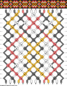 tribal geometric diamond friendship bracelet pattern - four 4 color DIY