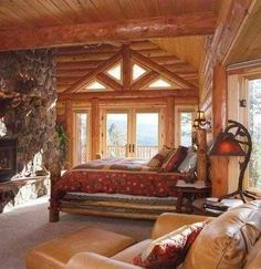 Milled Log Bedroom at the lake house rustic cabin. Log Cabin Living, Log Cabin Homes, Log Cabins, Rustic Cabins, Rustic Homes, Log Home Bedroom, Master Bedroom, Master Suite, Log Cabin Bedrooms