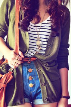 Long olive green cardigan with striped shirt and highwaisted shorts