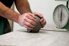Wedging Clay | Dan Wainman at the Kingston Potters' Guild | Photographed by Brendan Cull