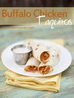 Buffalo Chicken Taquitos - Football food by bunsinmyoven.com. Have already made these and they're perfect for an easy Super Bowl app or for watching Norte dame kick the crap out of Alabama tonight!