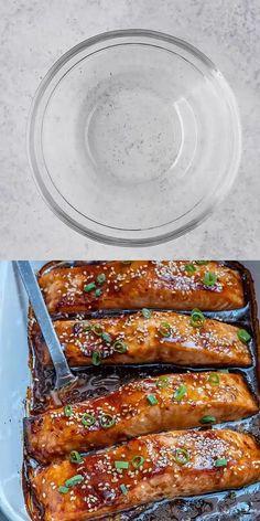 Healthy Chicken Recipes, Fish Recipes, Seafood Recipes, Dinner Recipes, Cooking Recipes, Healthy Recipe Videos, Lunch Recipes, Baked Teriyaki Salmon, Teriyaki Sauce