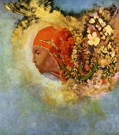 Floral - Head with Flowers - Odilon Redon. Symbolist