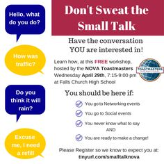 So excited to be facilitating this workshop April 29th in Falls Church - come learn to more naturally and joyfully make conversation! http://www.eventbrite.com/e/small-talk-workshop-tickets-16490585786?aff=eac2