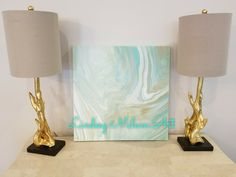 Lindsey Milam Art, abstract art, coastal, turquoise, gold, white, mint, acrylic art, sparkle