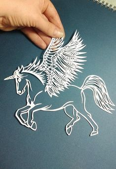 Unicorn winged horse pegasus paper cut template PDF by BabyFaceArt