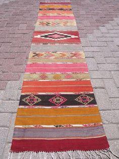 Anatolian Turkish Handwoven Antalya Nomads Kilim Runner Rug Area Carpet Rugs