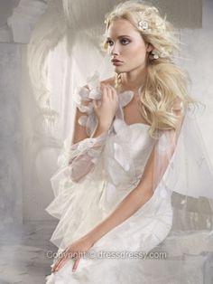 Sheath/Column Sweetheart Lace Satin Sweep Train Flowers White Wedding Dresses