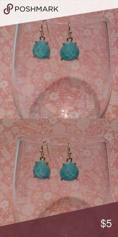 Aqua Colored Teardrop Shaped Dangle Earrings Simple gold dangle earring with a teardrop shaped aqua colored stone, lead and nickel compliant. Jewelry Earrings