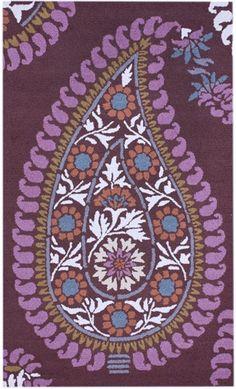 Modern Purple Paisley Rug