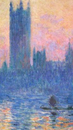 Claude Monet Classic Painting Art Sunset Pattern iPhone Wallpapers
