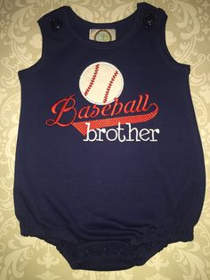 Boys applique baseball brother bubble body suit by osewcrazykids