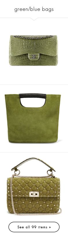 """""""green/blue bags"""" by phytomsisa ❤ liked on Polyvore featuring bags, chanel, handbags, tote bags, green, green purses, handbags totes, handbag purse, structured tote and mini handbags"""