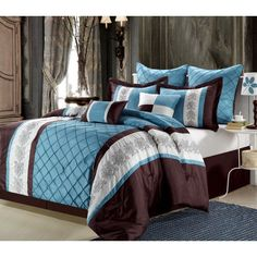 Chic Home Livingston Embroidered Comforter Set Blue - 35CQ102X-HE