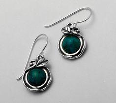 SHABLOOL ISRAEL Handcrafed Turquoise Sterling Silver 925 Earrings