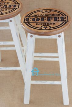 Painted Kitchen stools with coffee designs