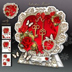 Valentine Heart With Roses Card Kit on Craftsuprint designed by Atlic Snezana - Valentine Heart With Roses Card Kit: 3 sheets for print with decoupage for 3D effect plus few sentiment tags (for your own personal text) - Now available for download!