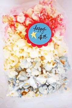 Red, White and Blue Candied Popcorn, Patriotic & 4th of July Fun Foods & Creative Cuisine