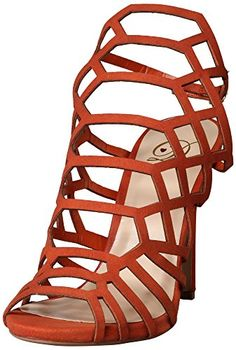 Delicious by Soda Womens Capture Geometric Caged Heel Sandal 8 BM US Orange ** Learn more by visiting the image link.