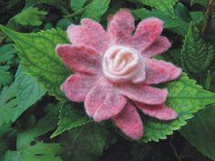 Pink fantasy felted flower brooch pin of fine merino by LanAArt
