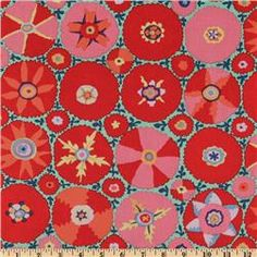 Wide Kaffe Fassett Spring 09 Suzani Red Fabric By The Yard Motifs Textiles, Textile Patterns, Textile Design, Fabric Design, Print Patterns, Suzani Fabric, Fabric Art, Red Fabric, Quilting Fabric