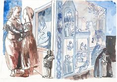 Paula Rego (Portugal 1935- England), Study for Crivelli's Garden (The Visitation), pen, ink and watercolour on paper, 1990. Rego created this work while an Associate Artist from 1989-90 at the National Gallery, London. The program enables leading contemporary artists to work with a collection of paintings that were made before 1900.
