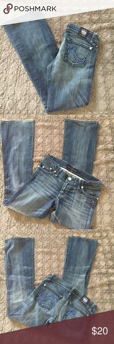"""Rock & Republic jeans Rock & Republic Skinard jeans in EUC.  Medium wash. Slight flare legs.  All badges and buttons in tact. Blue and white embroidered signature """"R"""" on both back pockets.  Small amount of wear on hems. ▫️Inseam: 31.5"""" ▫️Leg opening at widest: 9.5"""" Rock & Republic Jeans"""