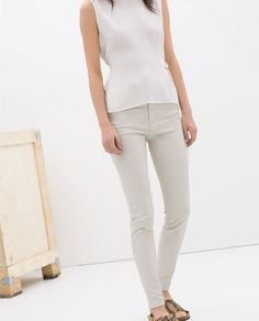 Image 3 of HIGH WAIST COATED JEANS from Zara