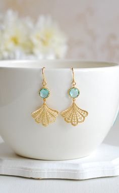 Matte gold filigree fan aqua blue glass earrings, gold feather earrings, drop earrings, boho earrings, modern earrings by LeChaim. Feather Earrings, Glass Earrings, Drop Earrings, Wedding Earrings Drop, Gold Earrings Designs, Gold Filigree, Jewelry Photography, Matte Gold, Bridesmaid Jewelry