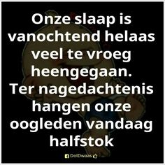 Vandaag halfstok Best Quotes, Funny Quotes, Humor Quotes, Dutch Words, Sleep Quotes, Dutch Quotes, One Liner, More Than Words, Funny Facts
