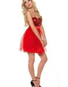Rochie rosie eleganta scurta cu paiete si tul Dresses, Fashion, Tulle, Vestidos, Moda, Fashion Styles, Dress, Fashion Illustrations, Gown