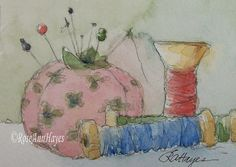 Watercolor painting of vintage sewing notions by RoseAnn Hayes, available in Etsy shop.