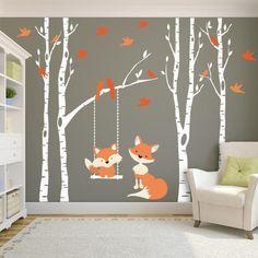 Fox Wall Decals Woodland Nursery 1 Tree Birch Nursery
