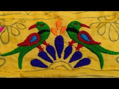 How to make parrot ? Handmade Embroidery Designs, Peacock Embroidery Designs, Hand Embroidery Videos, Hand Embroidery Flowers, Hand Embroidery Tutorial, Hand Work Embroidery, Creative Embroidery, Embroidery Stitches, Kutch Work Designs