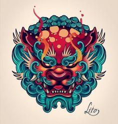 Fu dog tattoo design tattoo wave tattoo foo dog lineart by quinneys Japanese Hand Tattoos, Japanese Tattoo Symbols, Traditional Japanese Tattoos, Japanese Tattoo Designs, Tattoo Japanese Style, Irezumi Tattoos, Hannya Tattoo, Dog Tattoos, Body Art Tattoos