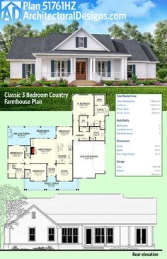 Introducing Architectural Designs House Plan 51761HZ (Classic 3 Bedroom Country Farmhouse Plan). It has porches front and back (and an optional outdoor kitchen in back) and 3 beds in a split layout. Ready when you are. Where do YOU want to build?